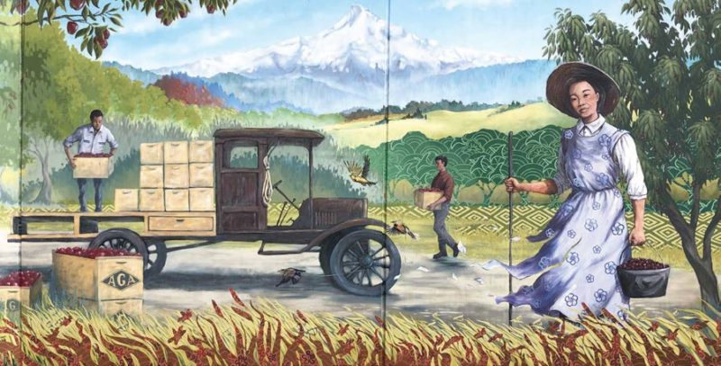 woman picking fruit with men loading truck behind her illustation