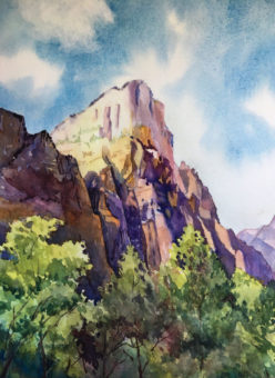 Watercolor painting of mountains